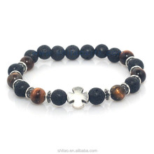 Newest Style Natural Stone Bracelet,Silvery Cross And Palm Bracelet,Lava&Tiger Eye Stone Mashup Round Beads Charm Bracelet