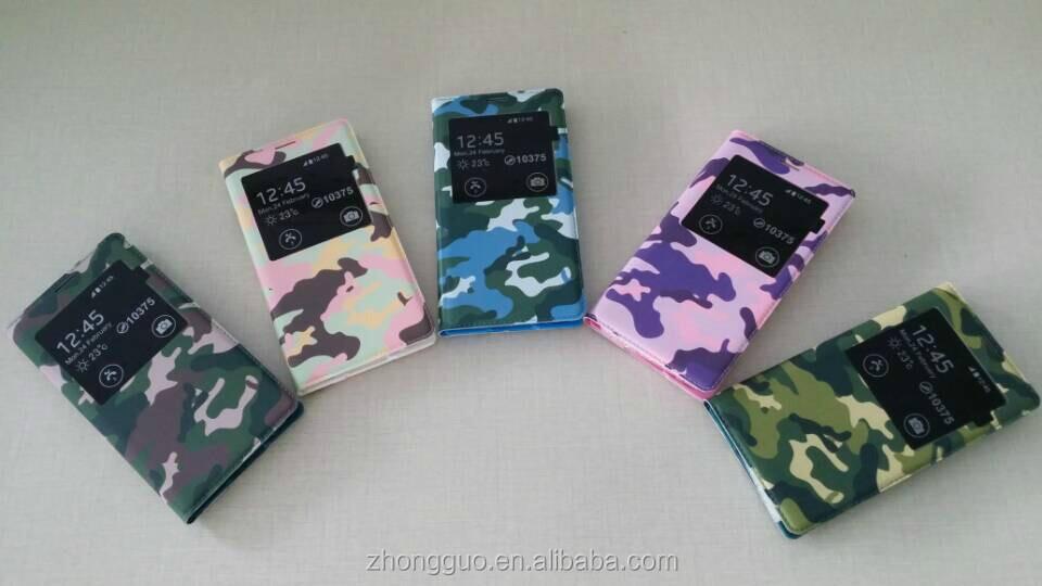 2014 top sale camouflage design leather flip case for samsung s5
