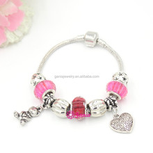 New Arrival Fashion Bracelet, DIY Snake Chain with Bear and Heart Charm European Style Bead Bracelets for Valentine's Day Gift