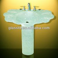 Back onyx bathroom glass vanities top with double sink