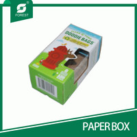 RECTANGLE SHAPE E FLUTE PAPER BOXES FOR PACKING PLASTIC GARBAGE BAGS WITH FANCY COLOR