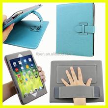 Fashion Leather folio case with belt clip lichi pattern for iPad air ipad 2/3/4