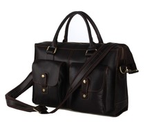 7096C 100% Genuine Crazy Horse Leather Dark Coffee Men's Handbag