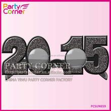 2015 New Years Glasses In Black Glitter