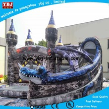 2015 Hot YBJ inflatable dragon slide for sale, cute inflatabe bouncer slide for kids, chepa inflatable dragon slide with pool