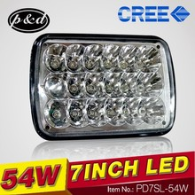High power 54w 7 inch rectangle led headlights hi and low beam for Jeep