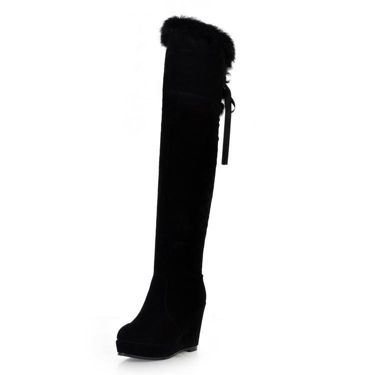 BIG SIZE 32-43! 2014 Winter Warm Plush Tall Wedge High Heels Genuine