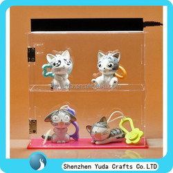 Desk top cartoon figure case with LED light, acrylic lucky doll showcase with hinge door