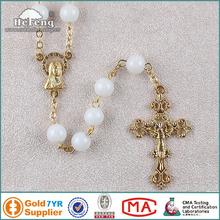 católico santo rosario 8mm de cristal blanco