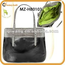 mediun-size patent leather tote with snake embossed leather trim