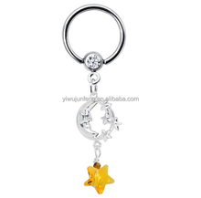 Evening Skies Moon and Stars BCR Captive Bead Ring Nipple Ring piercing jewelry