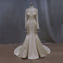 2015 new model satin & lace bead champange simple long sleeve wedding dresses