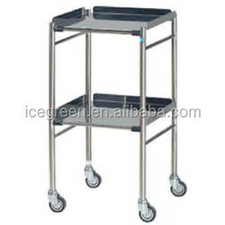Surgical Trolley - 2 layers Removable Stainless Steel Frame & Stainless Steel Shelves, 4 Wheels