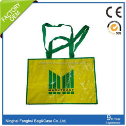 2015 Promotional Cheap PP woven bag/yellow shopping bag