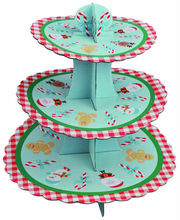 3 tier paper cupcake stand/3 tires Christmas Designed corrugated paper cupcake stands Ningbo