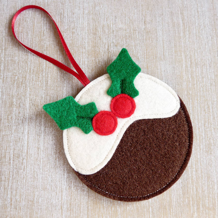 felt pudding 2jpg xmas felt decoration - Handmade Felt Christmas Decorations