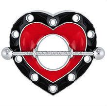 Black & Red Large Enamel Heart Nipple Shield 316L Steel Body Ring Piercing Jewelry