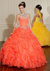 Stylish Sweetheart Lace Organza Yellow Ball Gowns Quinceanera Dresses 2015