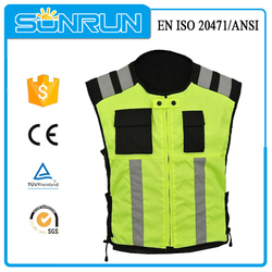 High visibility green reflective motorcycle 100 polyester jacket