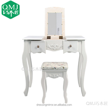 China Wholesale MDF Furniture White Mirror Wooden Dressing Table