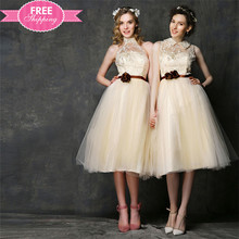 ShiJ Wholesale Price Sweet Champagne Chiffon Lace Short Knee Length Bridesmaid Dress