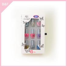 9pk nail polish set,nail polish bottle, nail art color shine cosmetic brush set