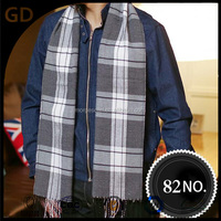 GDMM0082 promotional cashmere scarf big checks pattern gray tatting good quelity man scarf