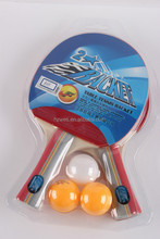Top selling Long handle best table tennis racket with 2 yellow ball and 1 white ball