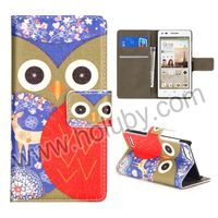 Colorized Owl Pattern Wallet Style Foldable Magnetic Stand Flip Leather Case for Huawei Ascend G6