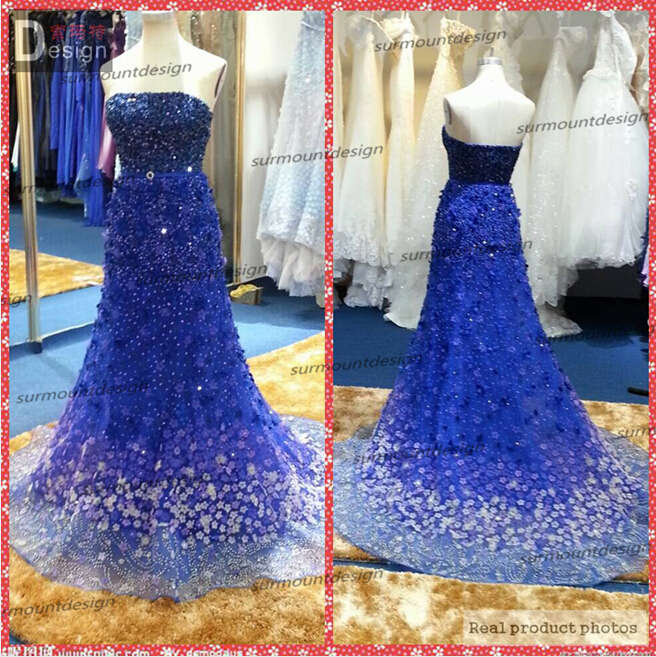 2015 new luxury elie saab strapless royal blue wedding dress for sale