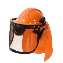 Gardening safety helmet with mesh visor and ear protective earmuff