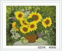 still life sunflower cristal diamond painting with wooden frame xinshixian paint boy brand GZ316
