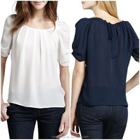 Latest pleated neck puffed shoulders silk blouse elegant silk blouses models