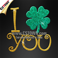 I love you Saint Patrick Day clothes glitter bling iron on transfers