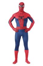 De Halloween Lycra Spandex zentai traje rojo azul o negro Spiderman traje de látex de lujo completo del mono