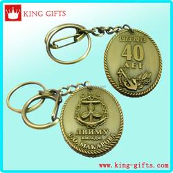 Both sides 3D zinc alloy Metal boat anchor key chain