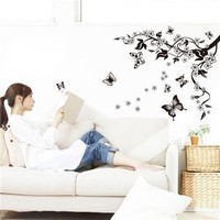 Colorcasa removable wall sticker PVC wall paper ZYPB7005 tree&butterflies 3D wall sticker art home decor for living room