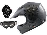 Youth Carbon Fiber Dirt Bike Motocross Helmet Off-Road w/Goggles/Gloves~S, M, L