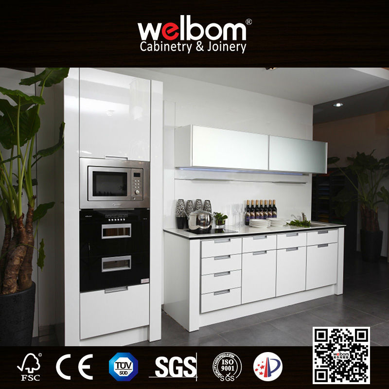 White Lacquer Modern Kitchen Cabinet Designs For Small