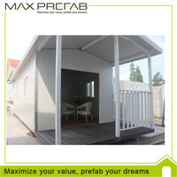 Double slope sandwich panel prefab container home with veranda for sale
