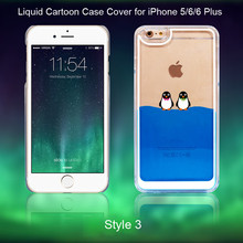 2015 Hot sale New Penguin Transparent Mobile Phone Case Liquid 3D Cartoon Phone Case Cover For Apple iPhone 5/6/6 Plus