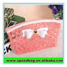 Pink cute girls use clear pvc zipper bag