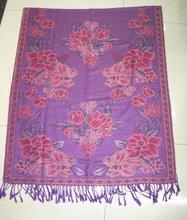 pashmina shawl,2012 new knitted rose flower pattern scarf ,selling hot bunch flower muslim pashmina scarf