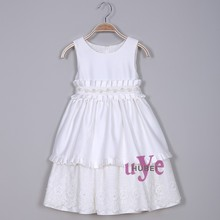 children wear Cheap beautiful little girls white dress for party 12 years old
