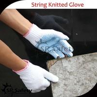 SRsafety 7 gauge polycotton dotted working glove/safety glove