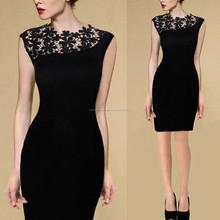 mujer sexy negro bordado vestido de encaje