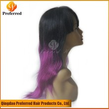 Queen Preferred black/purple brazilian hair ombre color full lace wig with bangs