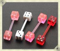 Unique design UC dice barbell piercing industrial piercing body jewelry bio plastic body piercing jewelry (HDT-004)