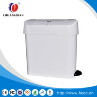 CHUANGDIAN 15L Hygienic Hands-Free Foot Pedal Operated Waste Disposal System, Rectangular CD-7001A