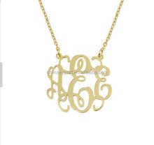 Gold Monogram Necklace 1 inch Handcrafted Designer Personalized Initial Necklace Made in USA